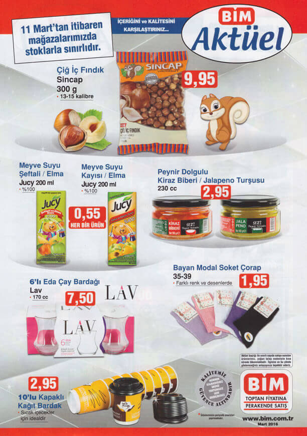 BİM Market 11-17 Mart 2016 İndirim Katalogu - Sincap Çiğ İç Fındık