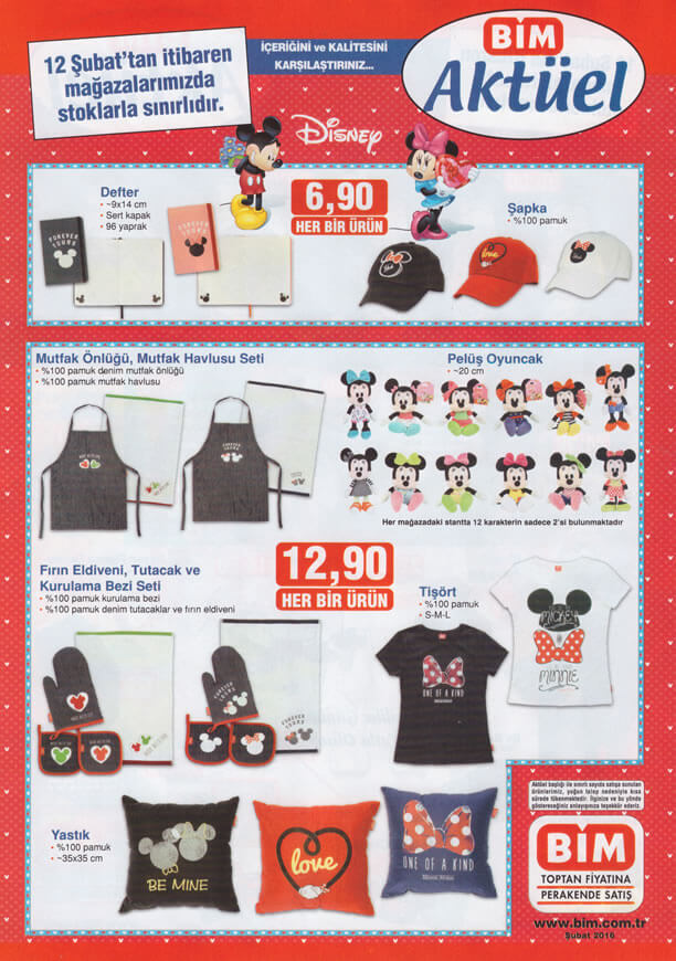 BİM Market 12-18 Şubat 2016 Katalogu - Mickey ve Minnie Mouse