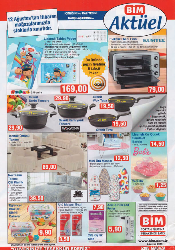 BİM Market 12 Ağustos 2016 Katalogu - Kumtel Elektrikli Mini Fırın