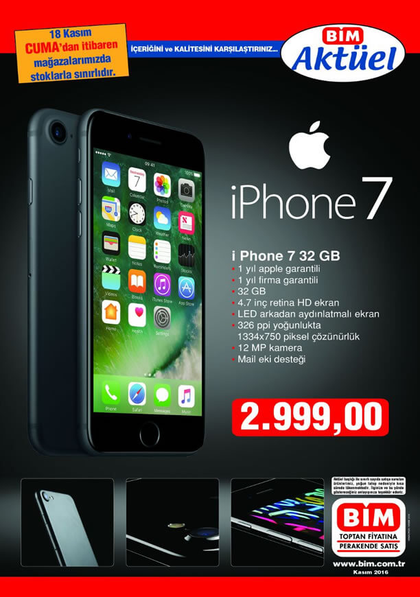 BİM Market 18 Kasım 2016 Katalogu - iPhone 7 32 GB