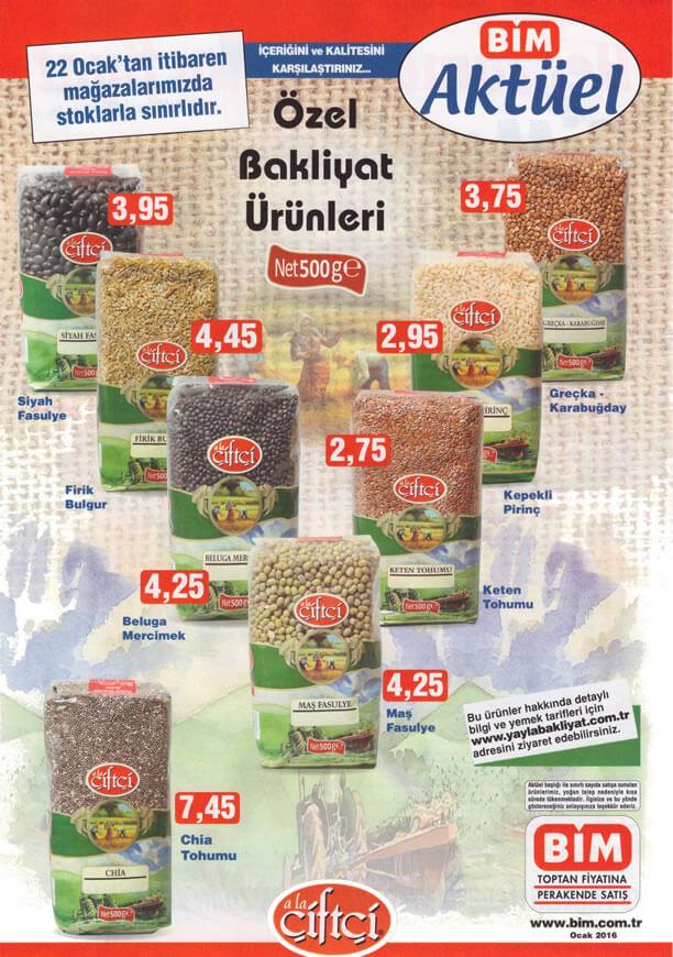 BİM Market 22.01.2016 Cuma Fırsatları - Çiftçi Özel Bakliyat Ürünleri