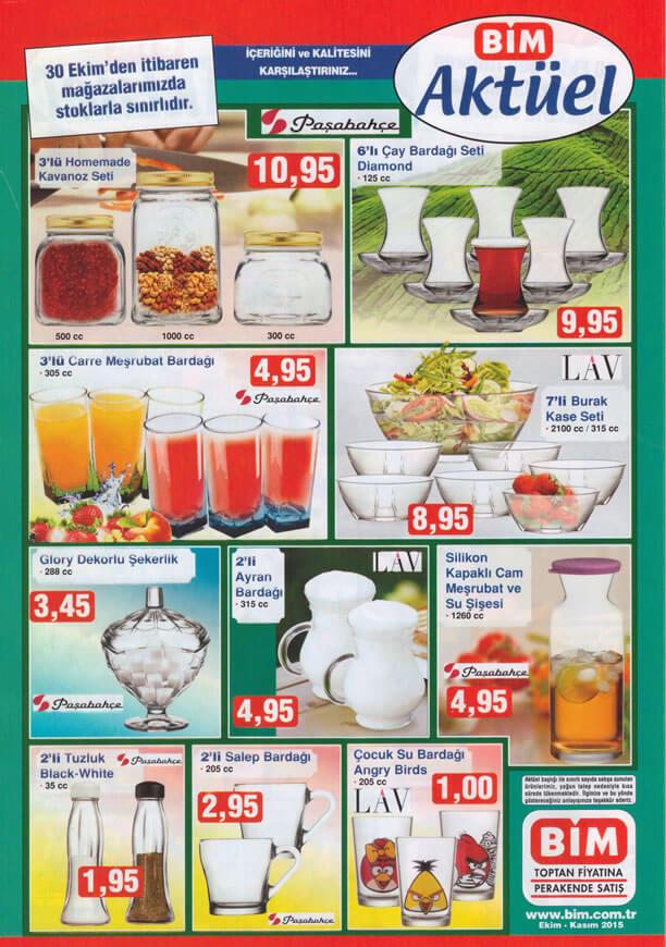 BİM Market 30 Ekim 2015 Broşürü - Paşabahçe