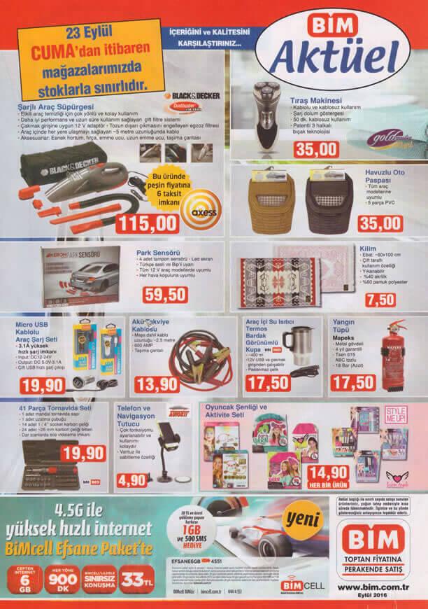 BİM Market Aktüel 23 Eylül 2016 Katalogu - Şarjlı Araç Süpürgesi