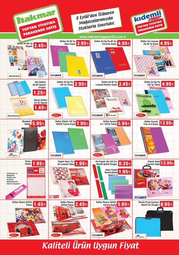 HAKMAR Fırsat Ürünleri 8 Eylül 2016 Katalogu - Okul Malzemeleri