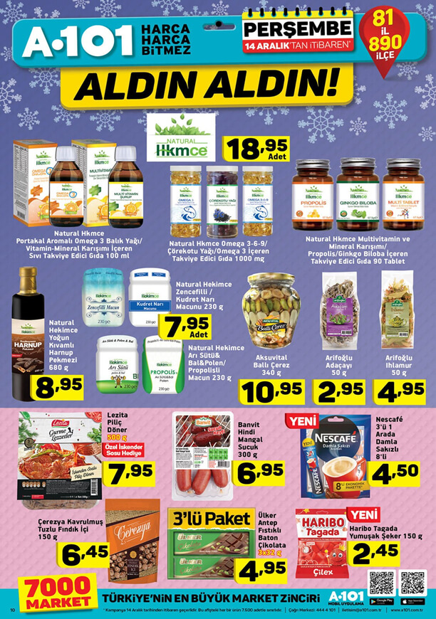 A101 14 Aralık 2017 İndirim Kataloğu - Gıda Takviyeleri