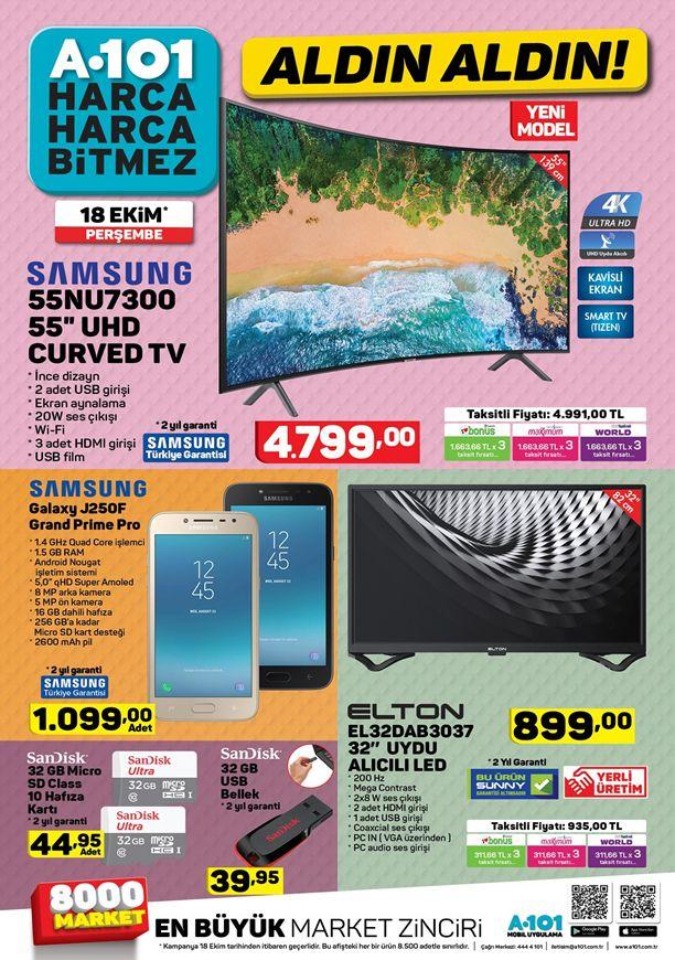 A101 18 Ekim 2018 Kataloğu - Samsung 55NU7300 UHD Curved Tv