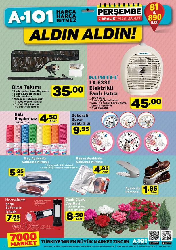 A101 7 Aralık 2017 Kataloğu Kumtel Elektrikli Fanlı Isıtıcı