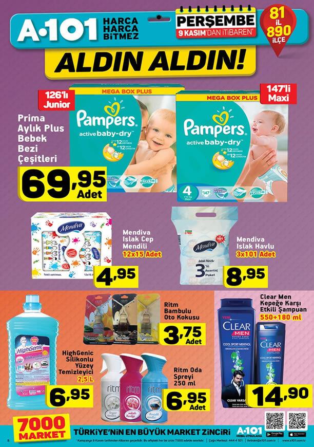 A101 9 Kasım - 15 Kasım 2017 Kataloğu - Prima Aylık Plus Bebek Bezi Çeşitleri