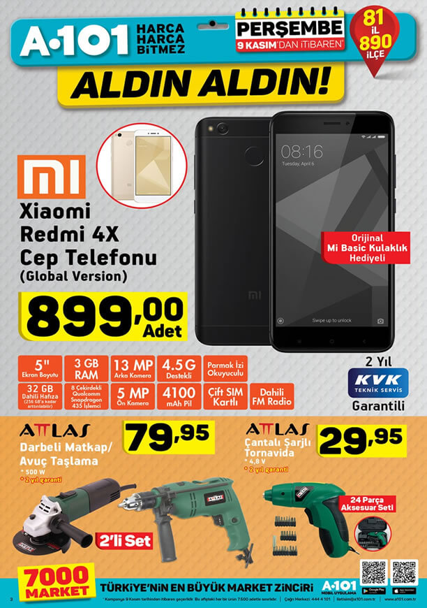 A101 9 Kasım 2017 Perşembe Xiaomi Redmi 4X