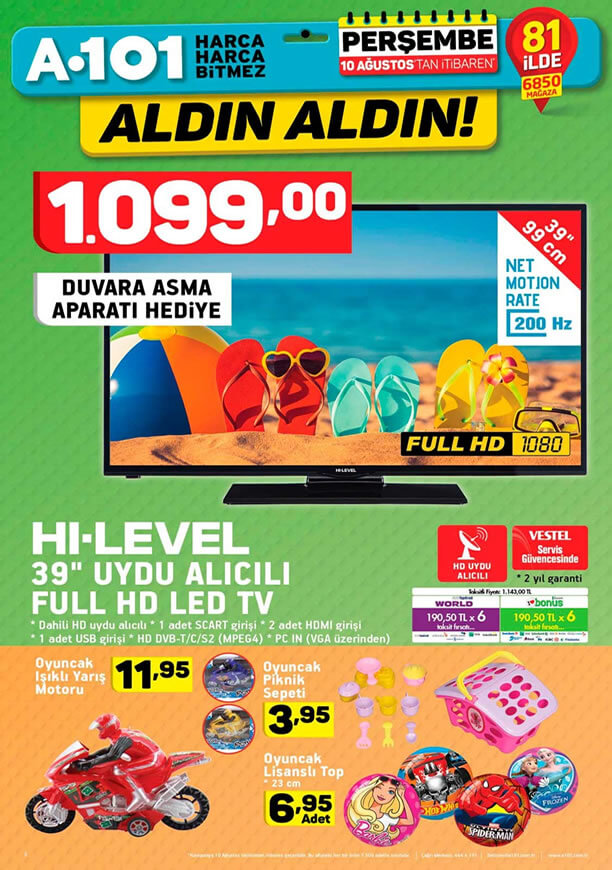 A101 Aktüel 10 Ağustos - Led Tv
