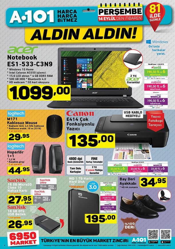 A101 Aktüel 14 Eylül - Acer Notebook
