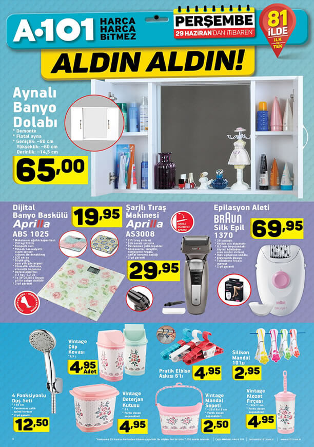 A101 Aktüel 29 Haziran 2017 - Aynalı Banyo Dolabı