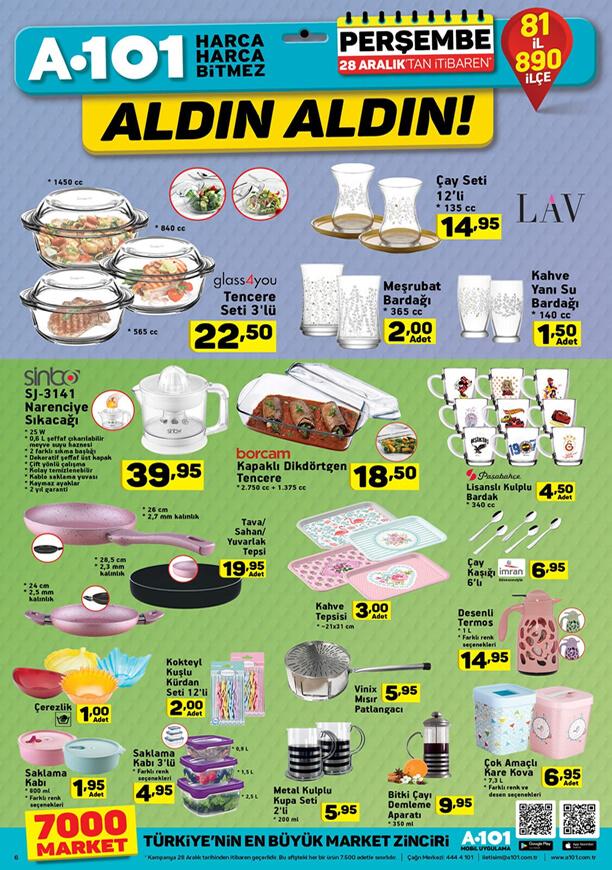 A101 Fırsatları 28 Aralık 2017 Katalogu - LAV Çay Seti