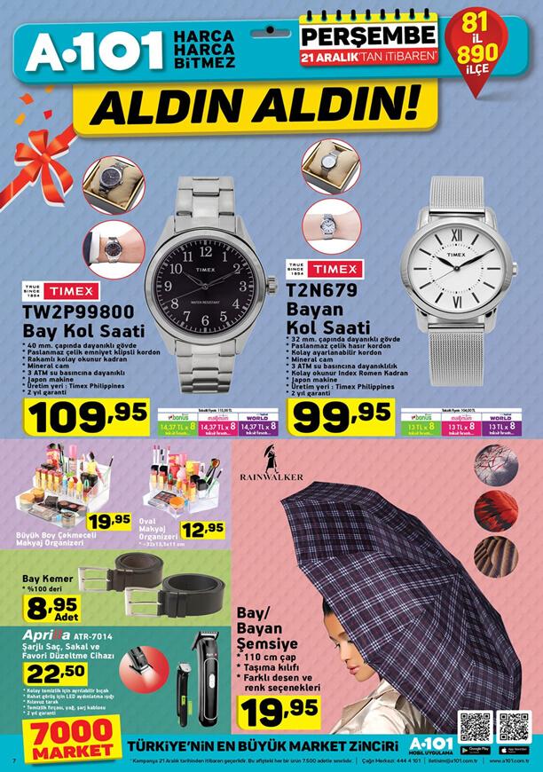 A101 Market 21 Aralık 2017 Katalogu - TIMEX Kol Saati