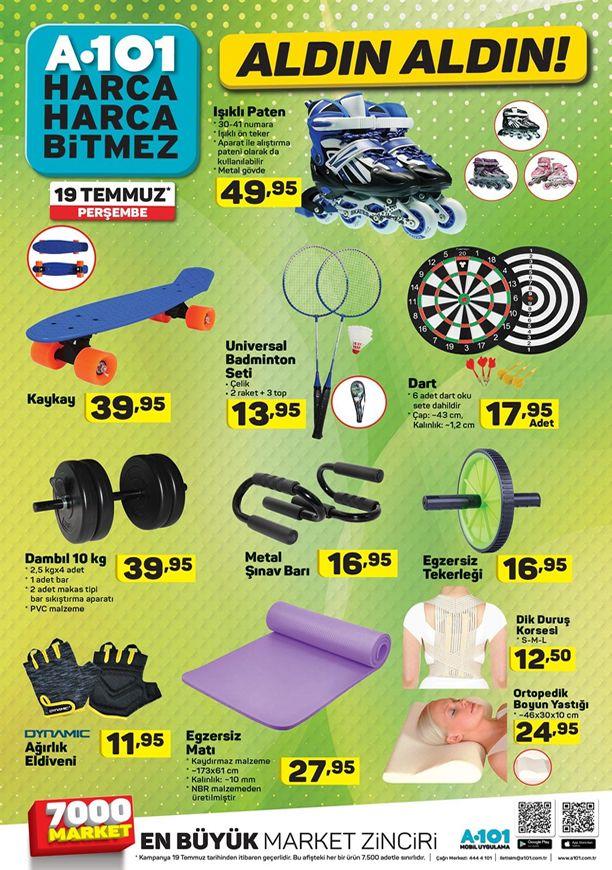 A101 Spor Malzmeleri 19 Temmuz - 25 Temmuz 2018 Kataloğu