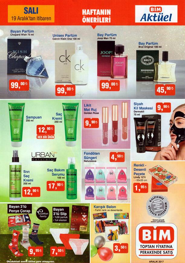 BİM 19 Aralık 2017 Salı Kozmetik Ürünleri Calvin Clain One Unisex Parfüm