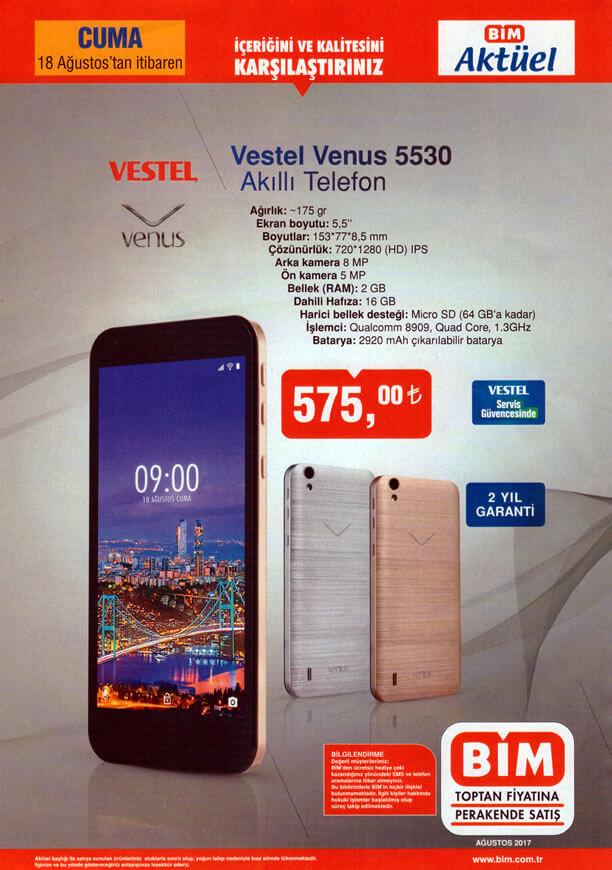 Bim Aktüel 18 Ağustos - Vestel Venus Akıllı Telefon