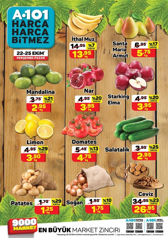 22 - 25 Ekim A101 sebze meyve fiyatları