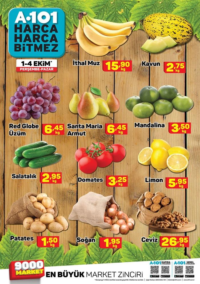 A101 1 - 4 Ekim Meyve Sebze Fiyatları