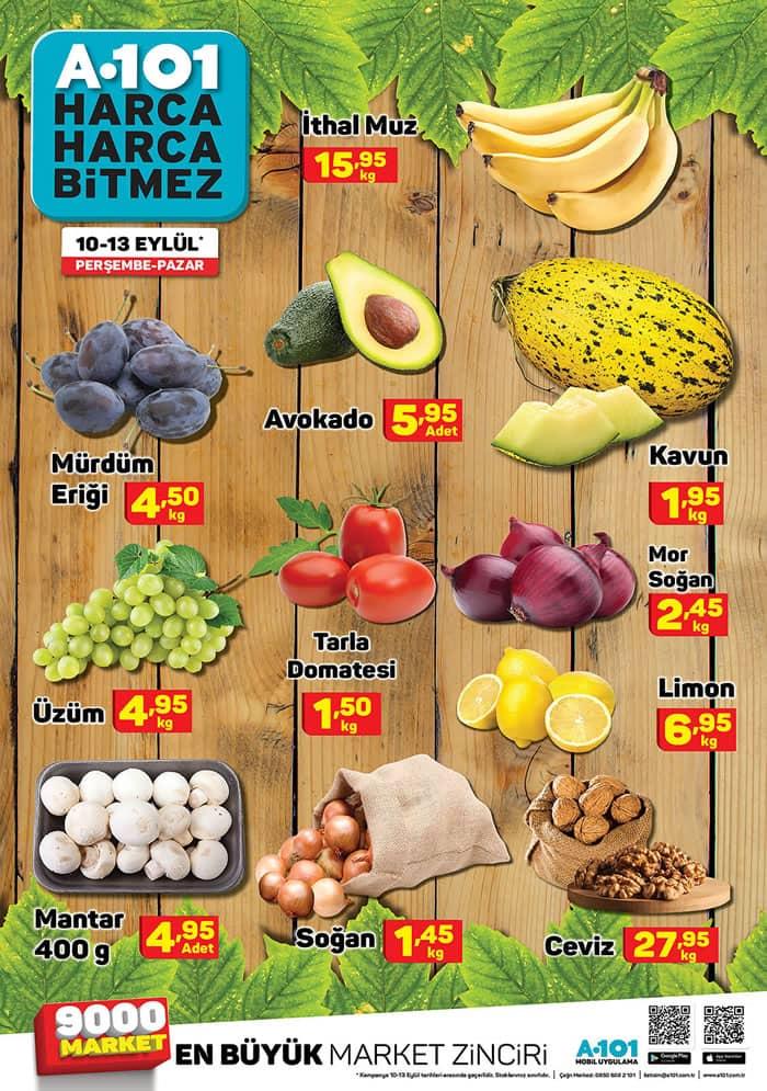 A101 10 - 13 Eylül 2020 Meyve Sebze Fiyatları