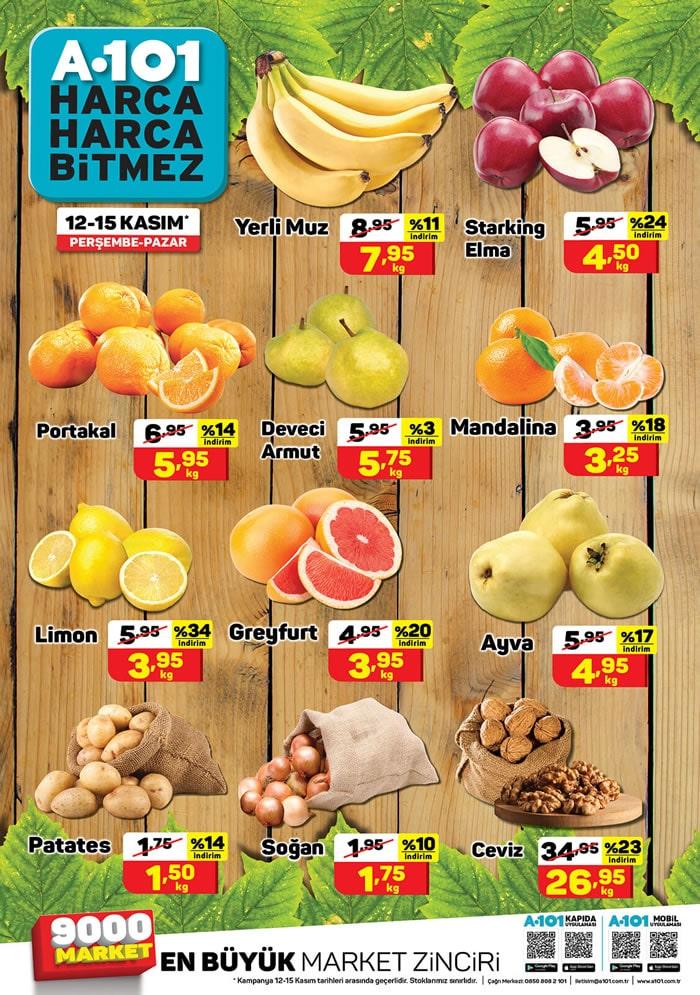 12 - 15 Kasım Meyve Sebze Fiyatları