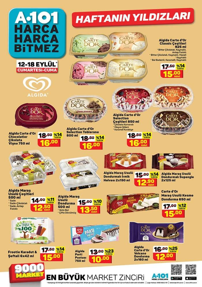 A101 12 - 18 Eylül 2020 Dondurma Fiyatları