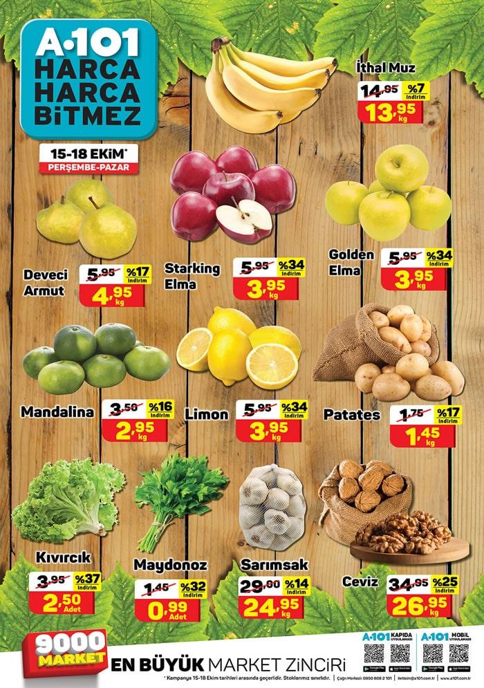 A101 15 - 18 Ekim meyve ve sebze fiyatları