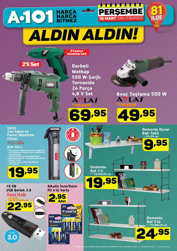 A101 16 Mart - 23 Mart 2017 Katalogu - Attlas Avuç Taşlama