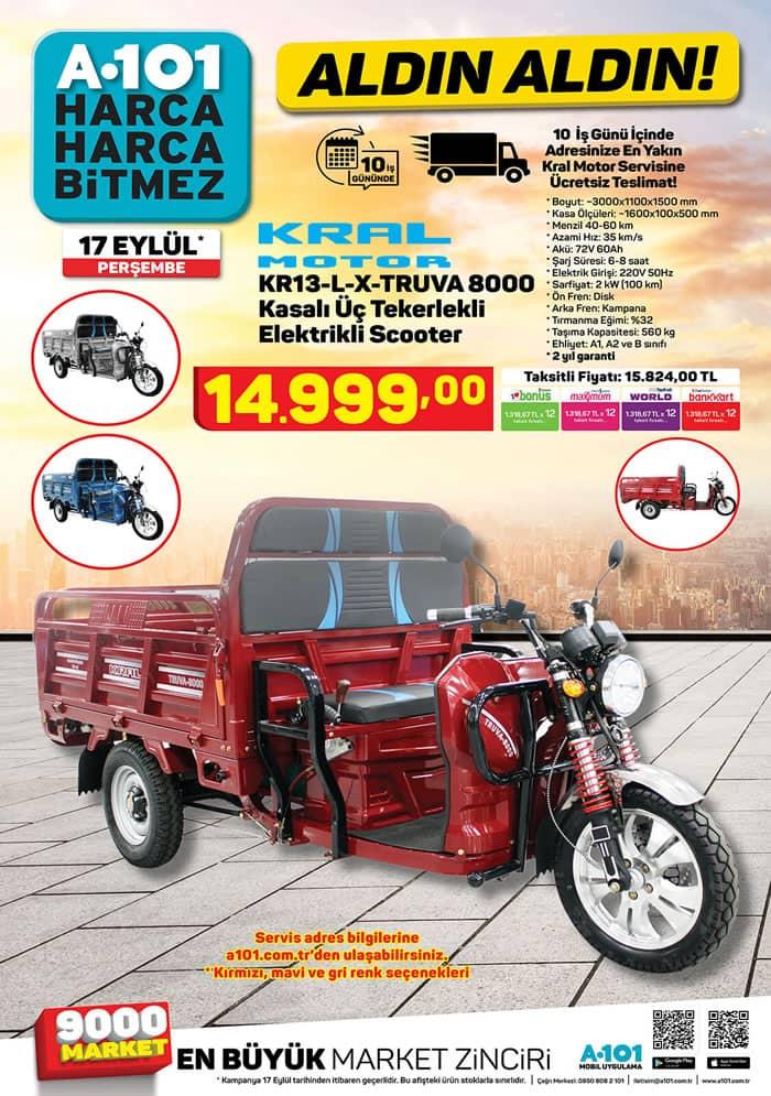 A101 17 Eylül 2020 Kral Motor KR13LX Truva 8000 Kasalı Üç Tekerlekli Scooter