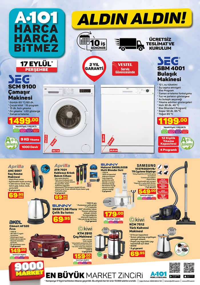 A101 17 Eylül 2020 SEG SCM 9100 Çamaşır Makinesi