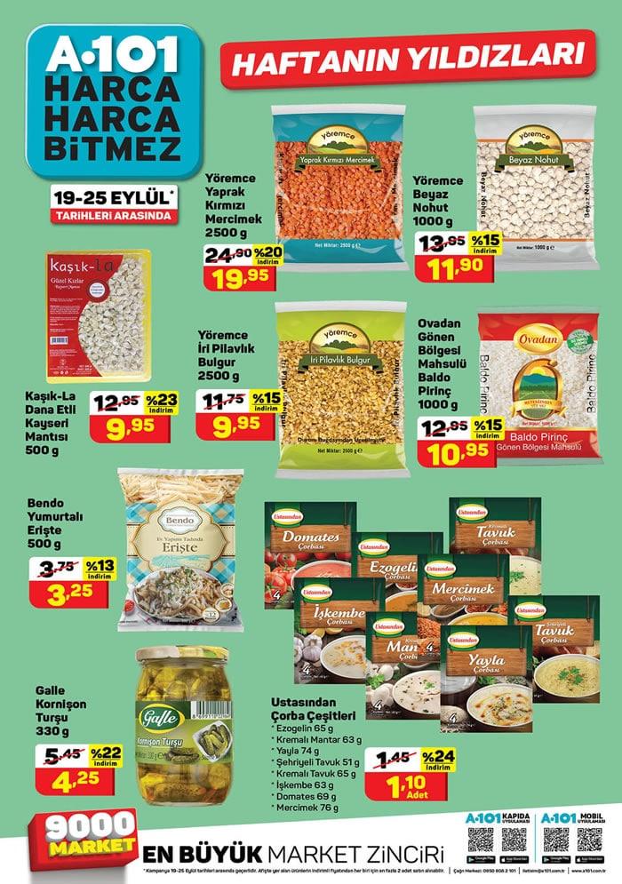 A101 19 - 25 Eylül bakliyat fiyatları