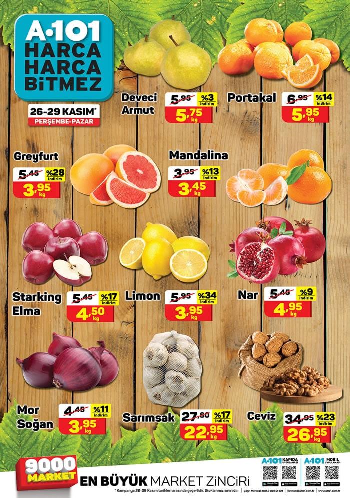 A101 Meyve ve Sebze Fiyatları