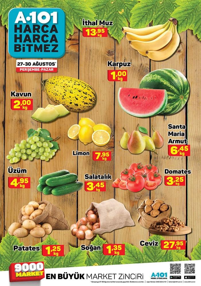 A101 26 - 30 Ağustos 2020 Meyve Sebze Fiyatları
