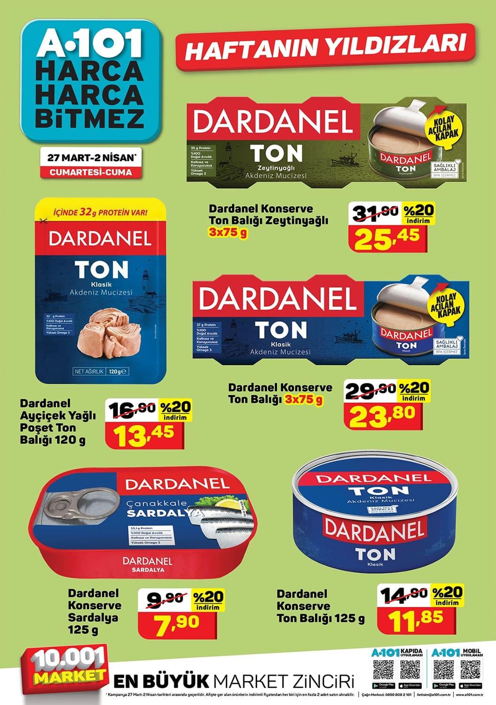 A101 27 Mart 2021 Dardanel ton balığı indirim kataloğu