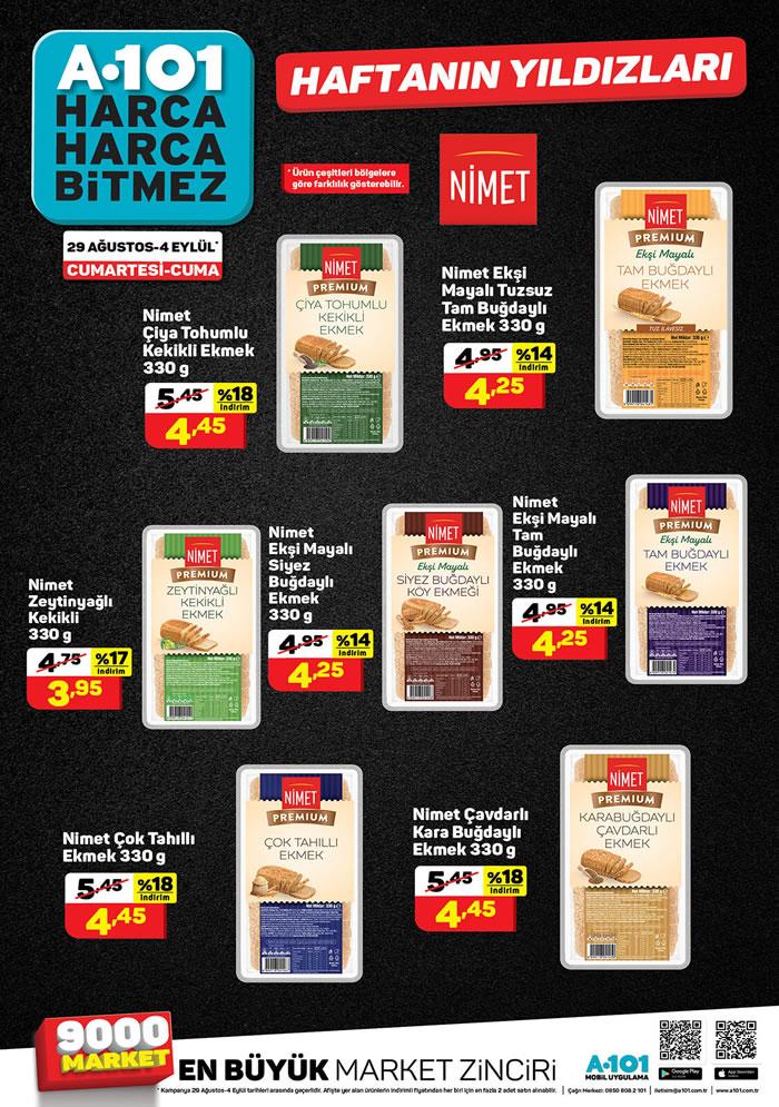 A101 29 Ağustos 2020 Nimet Ekmek Çeşitleri Fiyatları