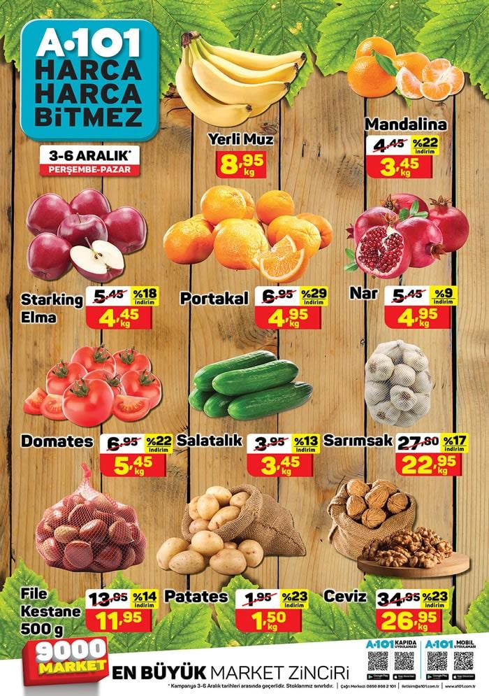A101 Market meyve ve sebze fiyatları