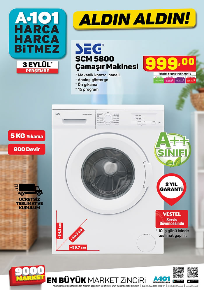 A101 3 Eylül 2020 SEG Çamaşır Makinesi
