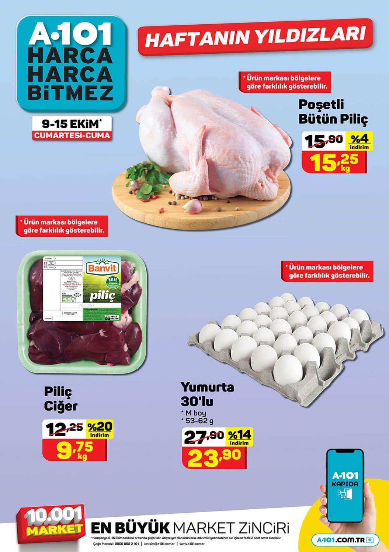 A101 9 Ekim 2021 tavuk ve yumurta fiyatları