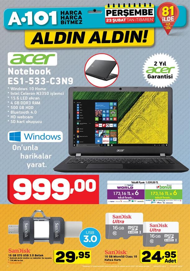 A101 Aktüel 23 Şubat 2016 Katalogu - Acer Notebook