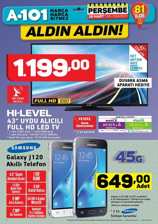 A101 Aldın Aldın 30 Mart 2017 - Samsung Galaxy J120 Akıllı Telefon