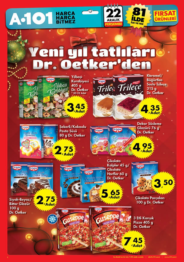 A101 Dr.Oetker Fırsatları 22 Aralık 2016 Katalogu