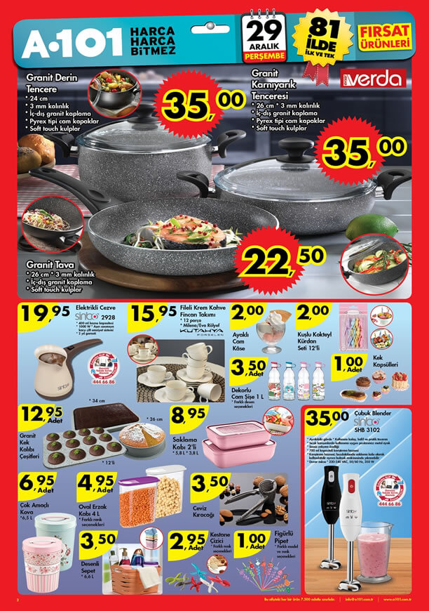 A101 Fırsat Ürünler 29 Aralık 2016 Katalogu - Verda Granit Tava