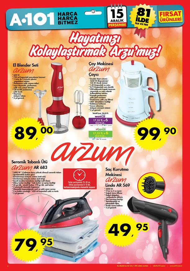 A101 Fırsat Ürünleri 15 Aralık Katalogu - Arzum Seramik Tabanlı Ütü
