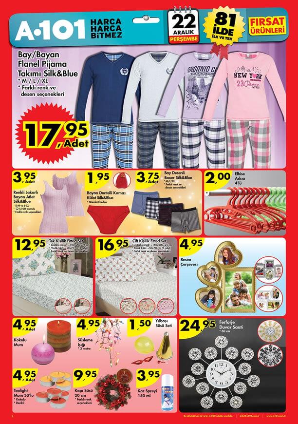 A101 Fırsat Ürünleri 22 Aralık 2016 Katalogu - Flanel Pijama Takımı