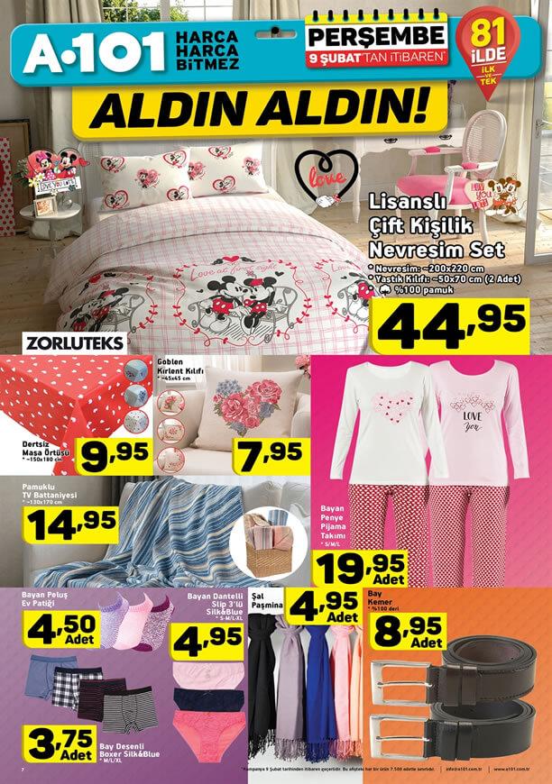 A101 Kampanyaları 9 Şubat 2017 Katalogu - Bayan Pijama Takımı