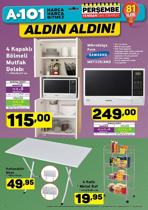 A101 Market 13 Nisan 2017 Katalogu - 4 Kapaklı Bölmeli Mutfak Dolabı