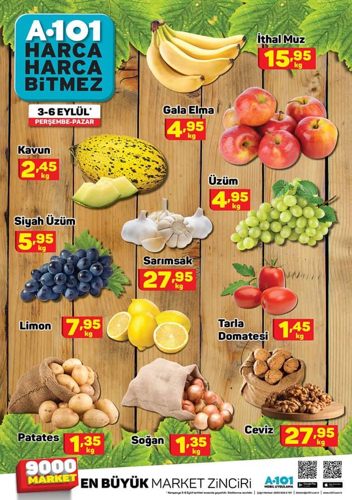 A101 3 - 6 Eylül 2020 Meyve Sebze Fiyatları