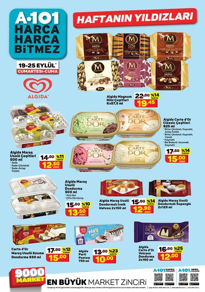 A101 19 - 25 Eylül 2020 dondurma fiyatları