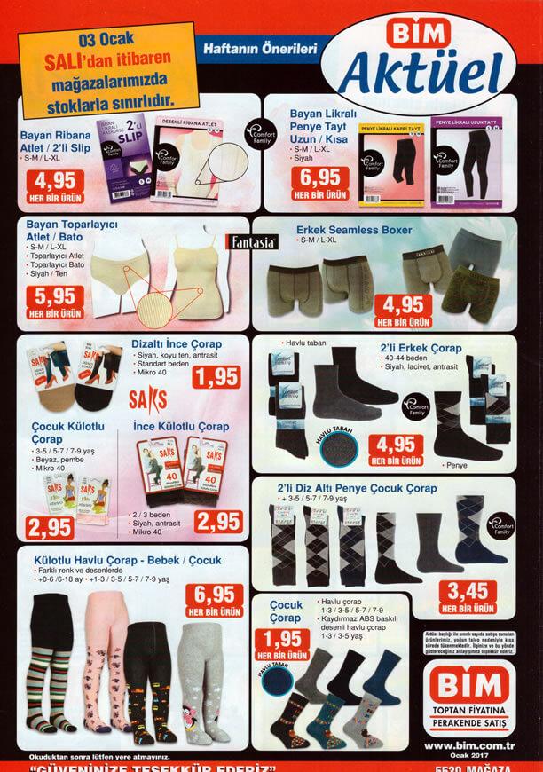 BİM 3 Ocak 2017 Aktüel Ürünler Katalogu - İç Giyim