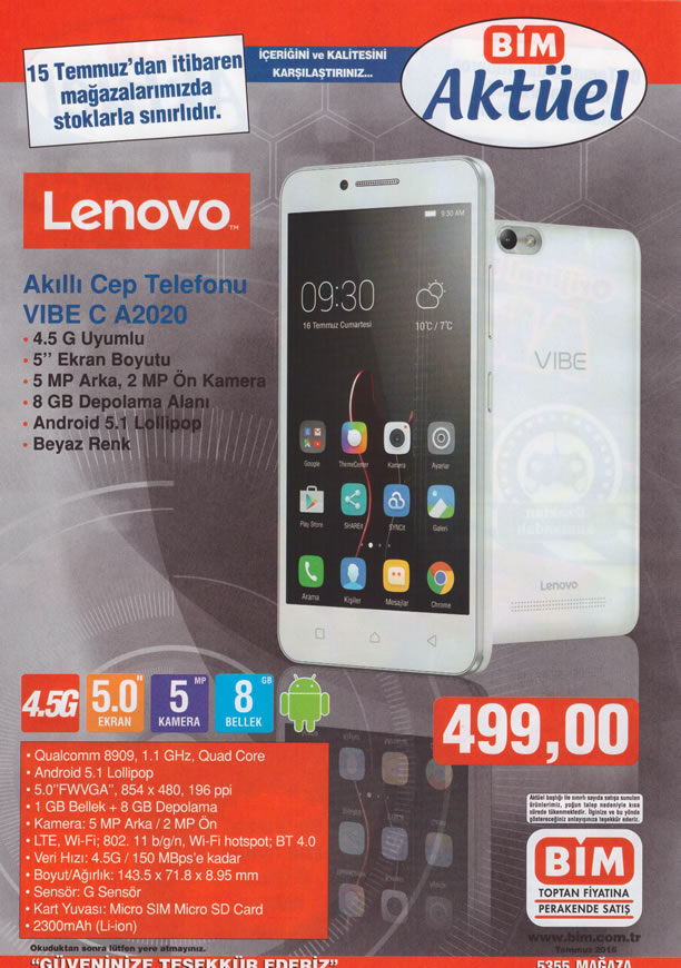 BİM Aktüel 15 - 21 Temmuz 2016 Katalogu - Lenovo VIBE C A2020